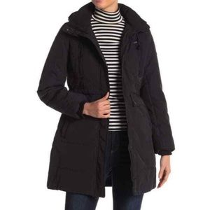 LUCKY BRAND Faux Fur Hooded Parka Coat Black NEW M